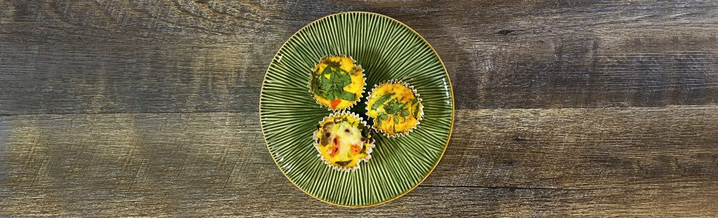Picture of 3 low carb breakfast muffins, bariatric friendly breakfast recipe