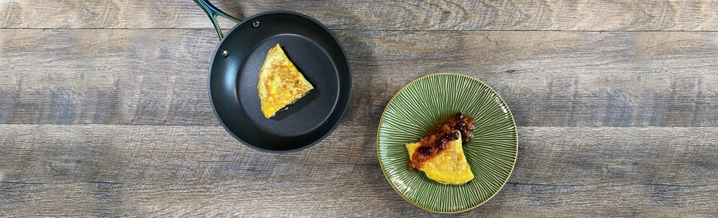 Picture of bariatric friendly breakfast recipe, black bean and chicken omelet